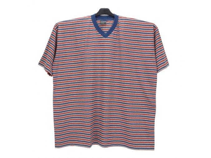 Pánské nadměrné tričko melír modrá červená KV