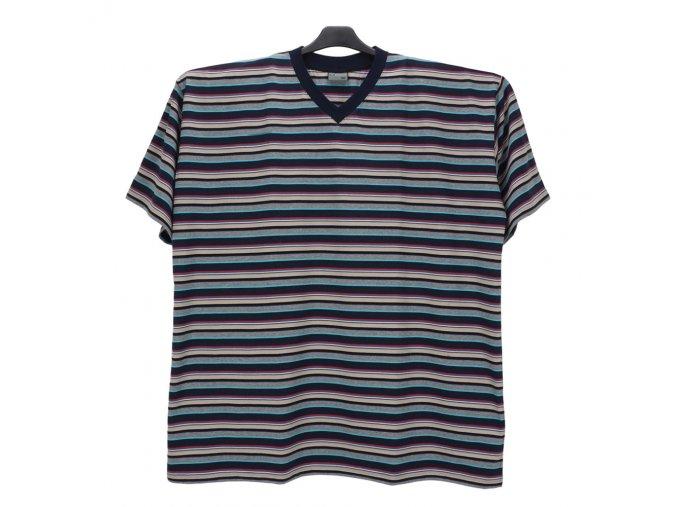 Pánské nadměrné tričko modrá melír hnědá KV