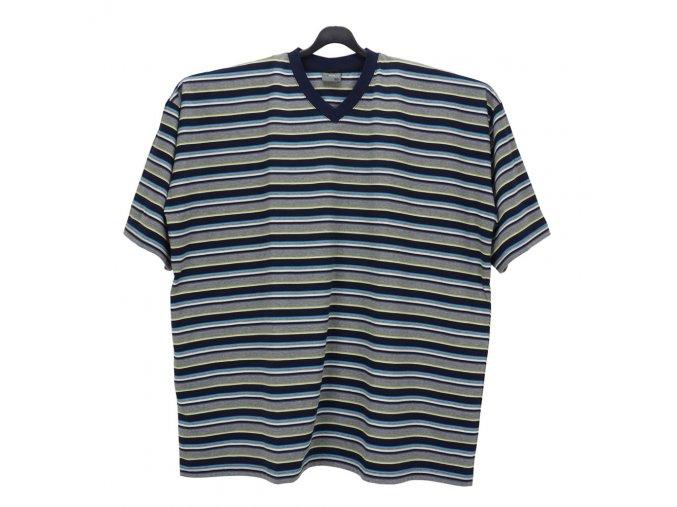 Pánské nadměrné tričko modrá melír tenký tyrkys KV