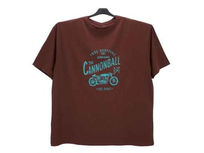 Pánské nadměrné tričko hnědé s potiskem KPU