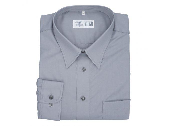 Pánská nadměrná košile šedá hladká bavlna D
