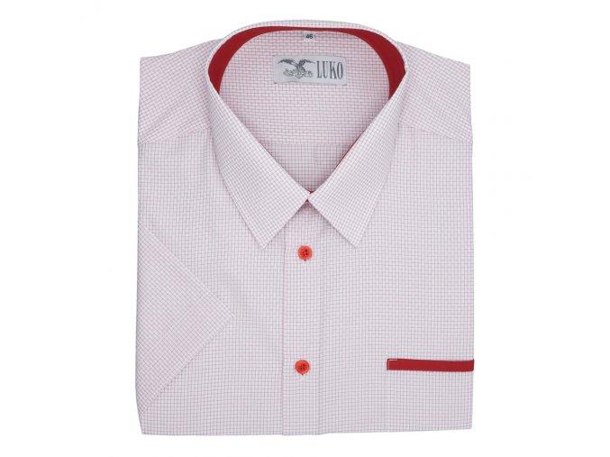 Pánská nadměrná košile bílá s červenou kostičkou K1
