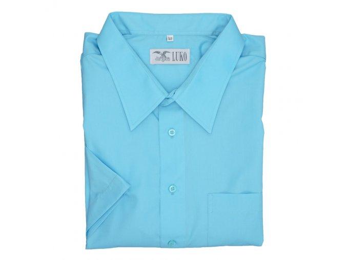 Pánská nadměrná košile tyrkys hladká K1