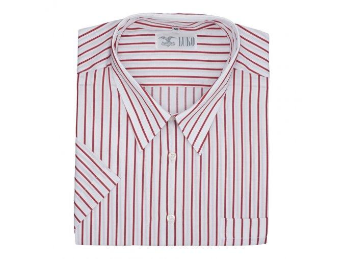 Pánská nadměrná košile bílá s červeným proužkem K1