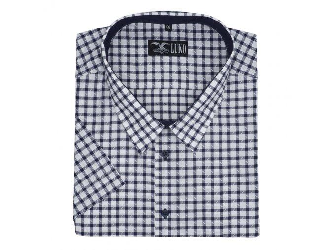 Pánská nadměrná košile modrá kostka K1