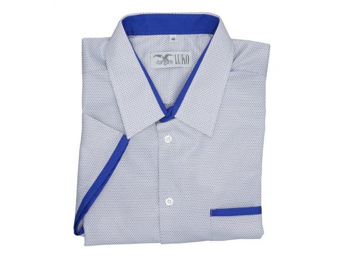 Pánská nadměrná košile modrá s barevnými tečkami K1