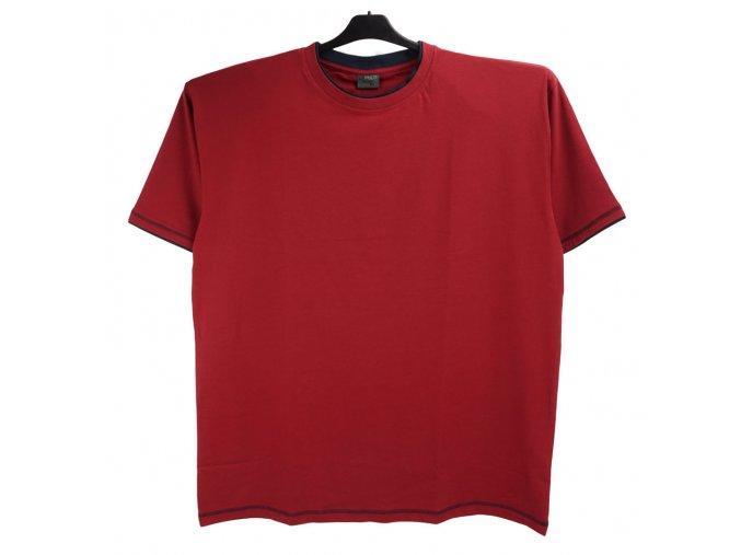 Pánské nadměrné tričko vínové s modrým lemem K