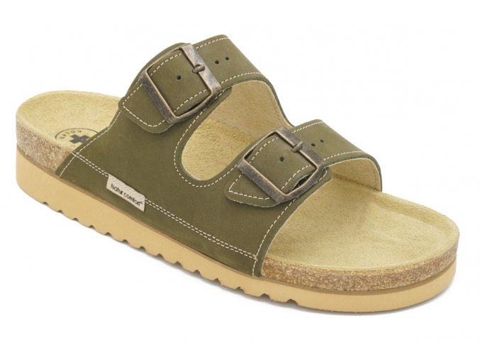 Dámské korkové sandály zelené 1