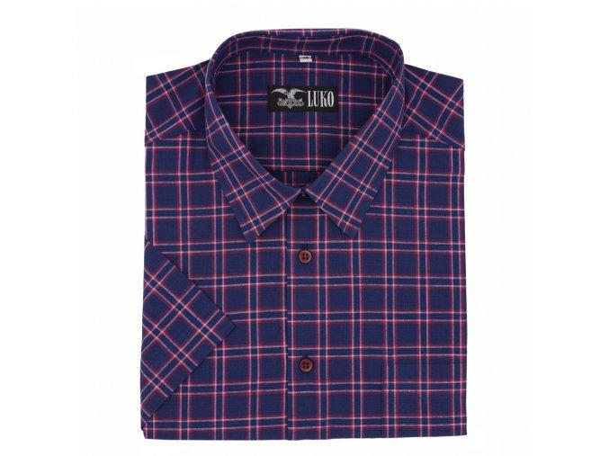 Pánská košile švestka modrá s červenou kostkou K1 194110