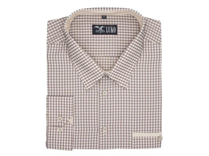 Pánská nadměrná košile hnědo modrá káro D 1
