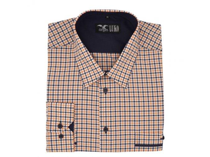 Pánská nadměrná košile oranžovo modrá káro D1 182216