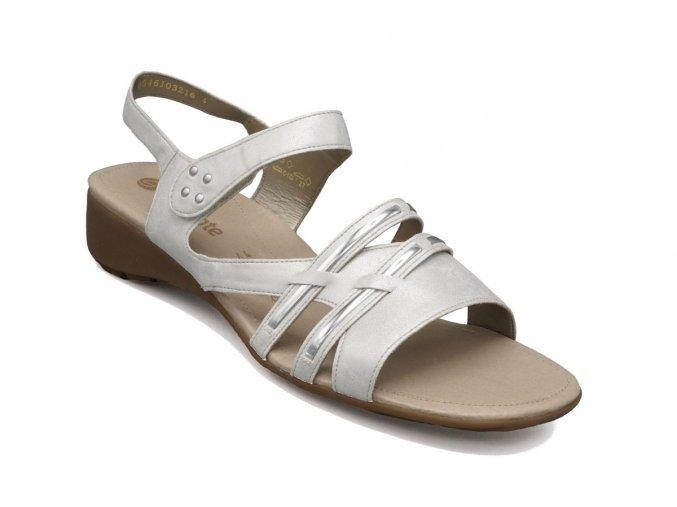 Dámské nadměrné sandály světlé s lesklými pásky 1
