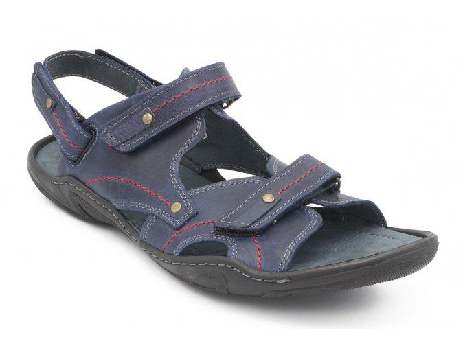 Pánské nadměrné sandály modré červený steh 1