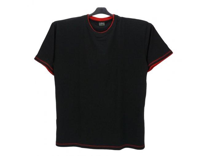Pánské tričko černé červený lem KU