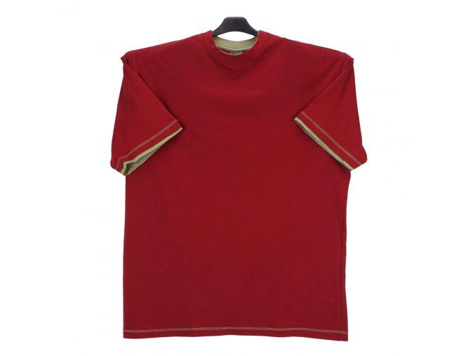 Pánské tričko červené oliva lem KU