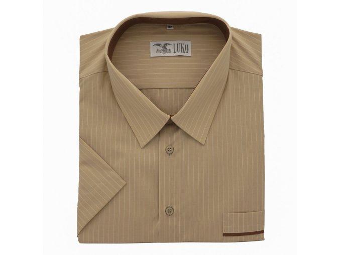 Pánská nadměrná košile světle hnědá proužek K 1