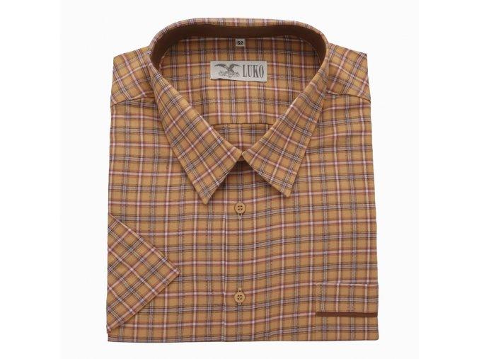Pánská nadměrná košile hnědá kostka K 1