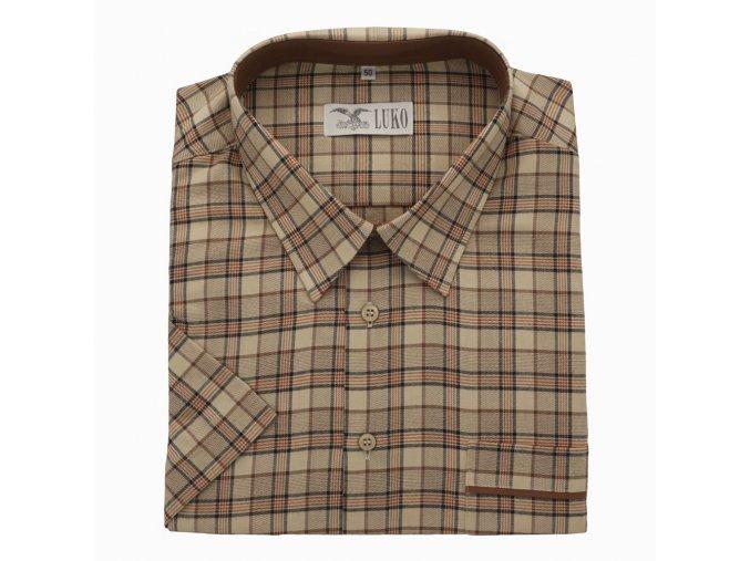 Pánská nadměrná košile hnědá károvaná K 1