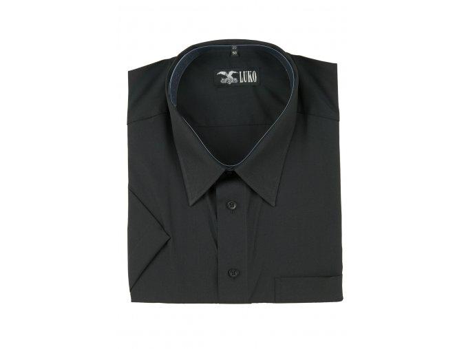 pánská košile kr. černá hladká