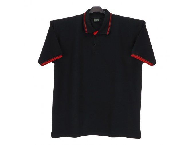 Pánská polokošile černá červený pruh KL