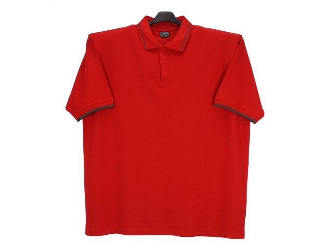 Pánská polokošile červená šedý pásek KL