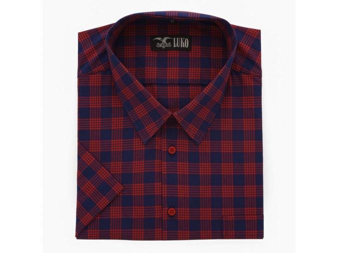 Pánská nadměrná košile červeno modrá kostka K 1
