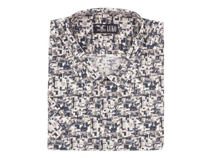 Pánská košile kamínky šedé hnědé K1