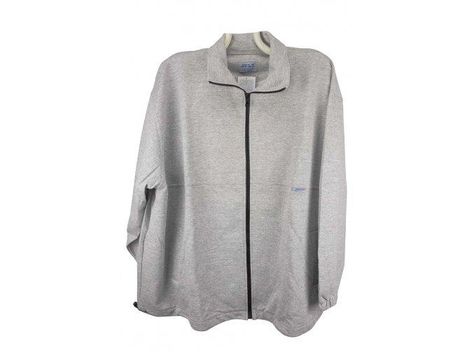 mikina pánská dlouhý zip světle šedá bavlna