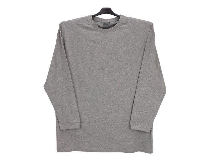 Pánské tričko šedý melír dlouhý rukáv DU