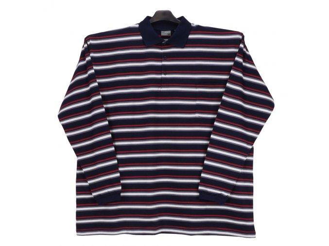 Pánské triko límec dl. rukáv červený pruh DL