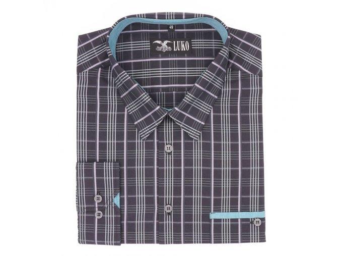 Pánská košile černá fialová D1