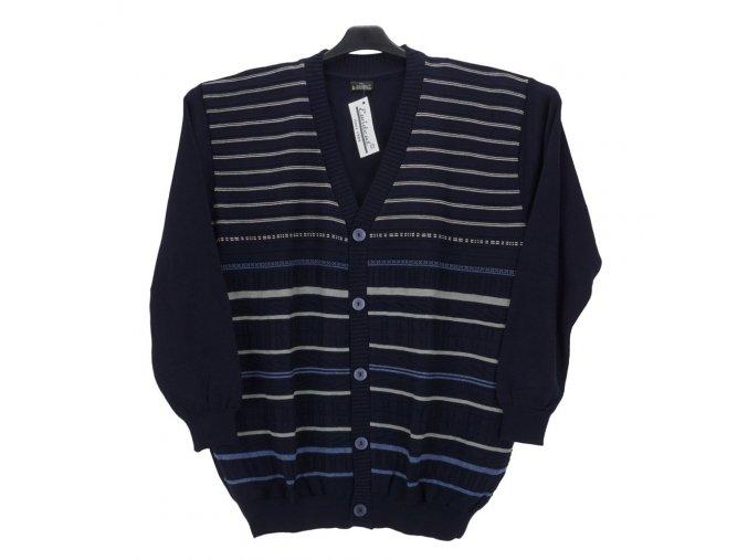 Pánský svetr modrý se vzorem propínací