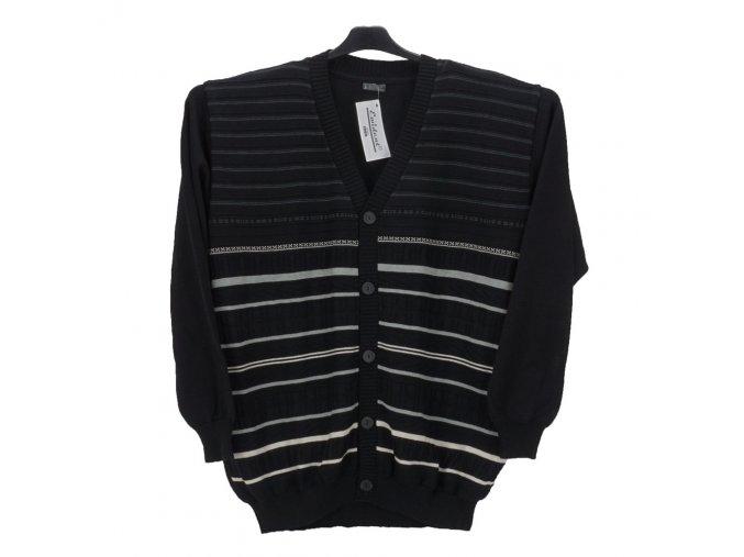 Pánský svetr černý se vzorem propínací
