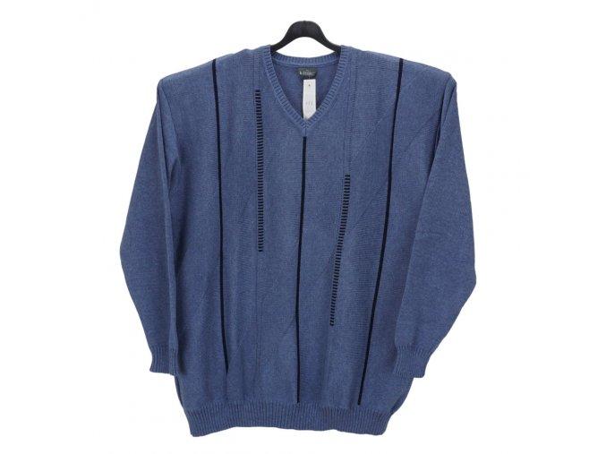 Pánský světle modrý svetr se vzorem V