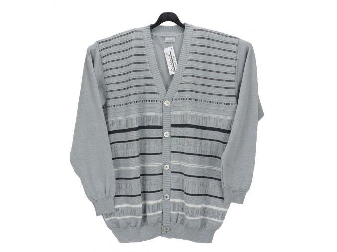 Pánský svetr světle šedý se vzorem propínací