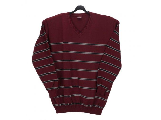 Pánský svetr vínový s pruhy V