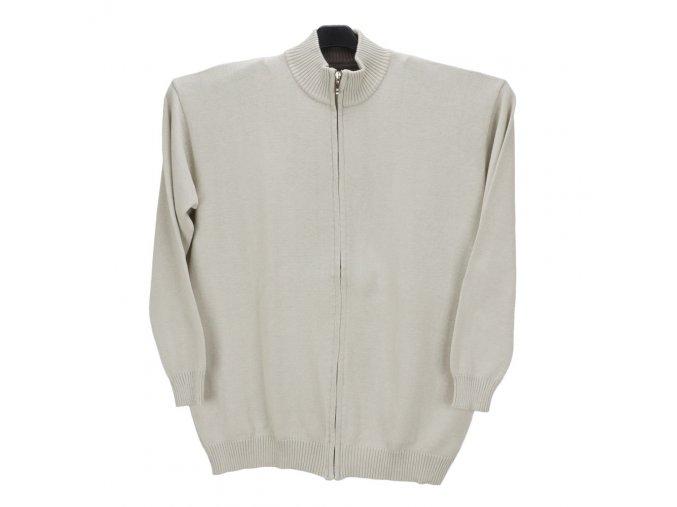 Pánský svetr krémový s dlouhým zipem