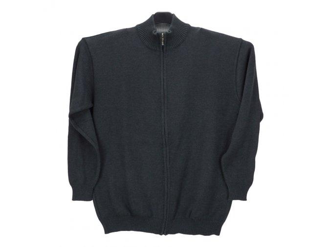 Pánský svetr antracit s dlouhým zipem