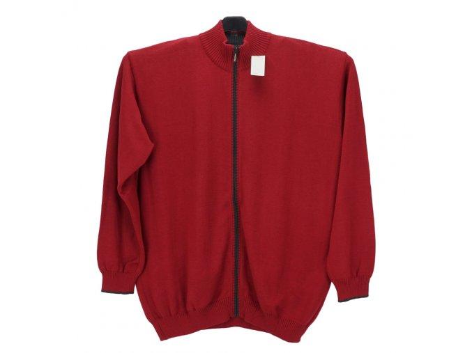 Pánský svetr matně červený s dlouhým zipem