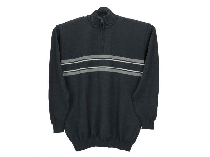 Pánský svetr tmavě šedý s krátkým zipem pruh