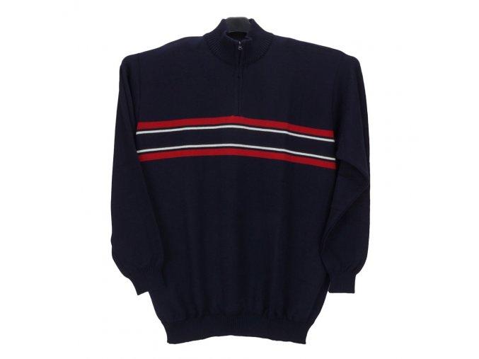 Pánský sportovní svetr tmavě modrý s pruhy