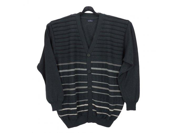 Pánský svetr tmavě šedý propínací