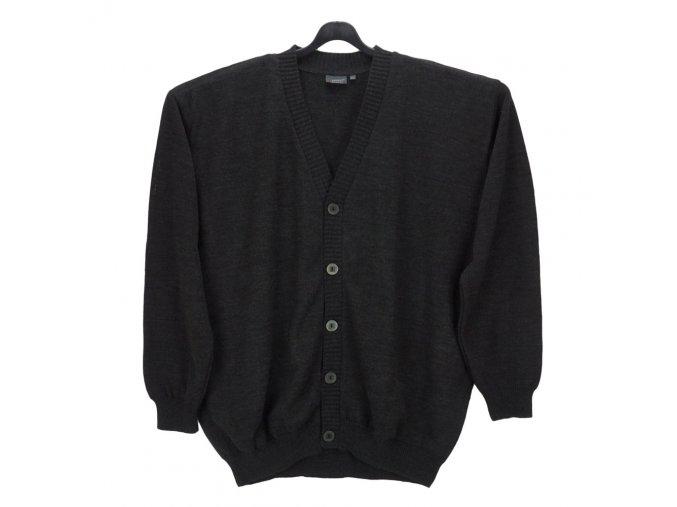 Pánský svetr antracit hladký propínací