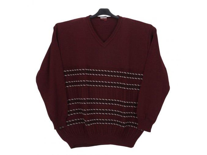 Pánský svetr vínový se vzorem V