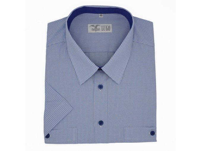 Pánská košile sv modrá kostička modrý knoflík K 194113 1