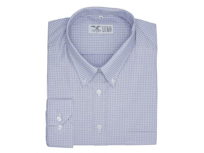 Pánská nadměrná košile modrá s přesnou kostkou D 1