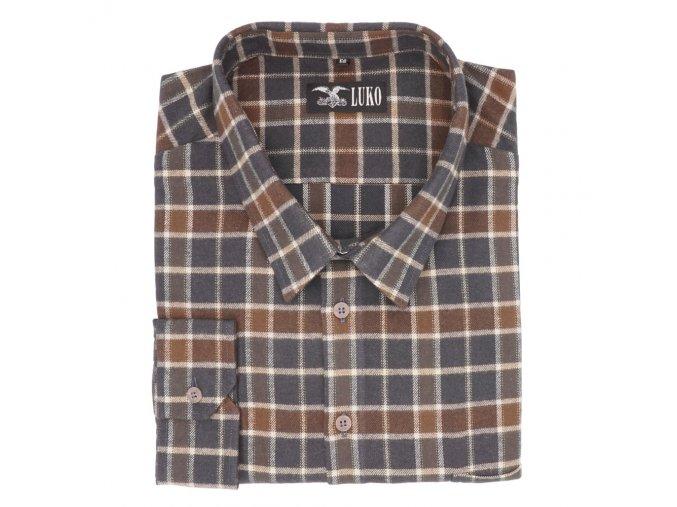 Nadměrná flanelová košile zemitá hnědá D 1