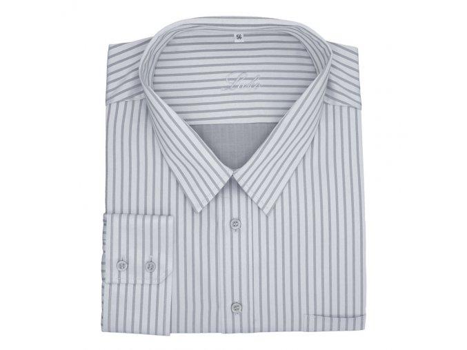 Pánská nadměrná košile šedé stříbro pruh D 1