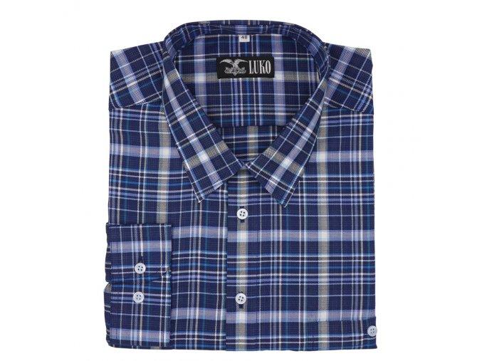 Pánská košile bavlna modrá velká kostka D1 192201