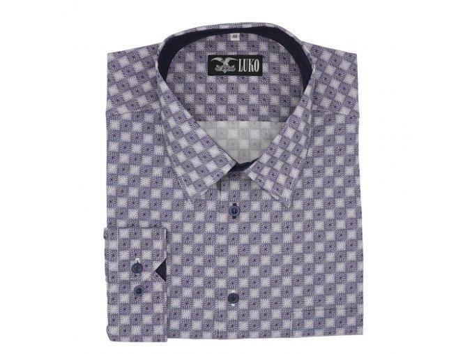 Pánská košile s plastickým vzorem modrá D1 192216